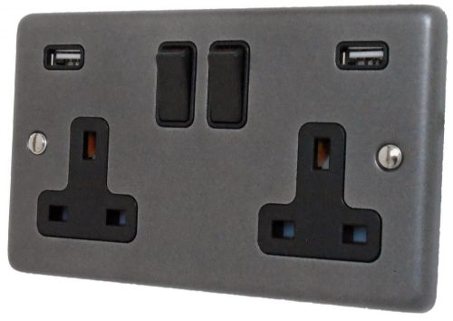 G&H CP910B Standard Plate Pewter 2 Gang Double 13A Switched Plug Socket 2.1A USB
